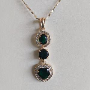 Emerald CZ Crystals Necklace